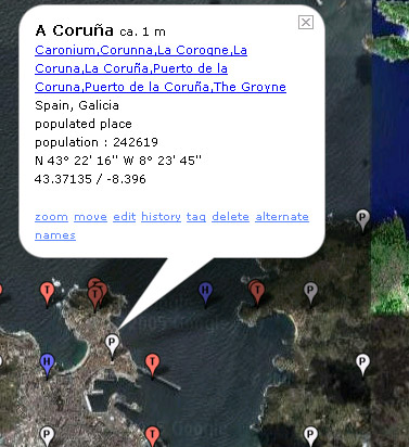A Coruña en Geonames