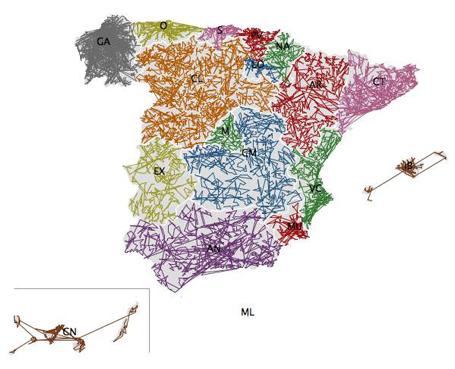 garabato de códigos postais espanhois